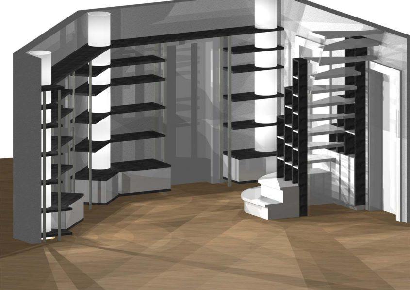 Bibliothek Visualisierung Für Eine Stadtvilla