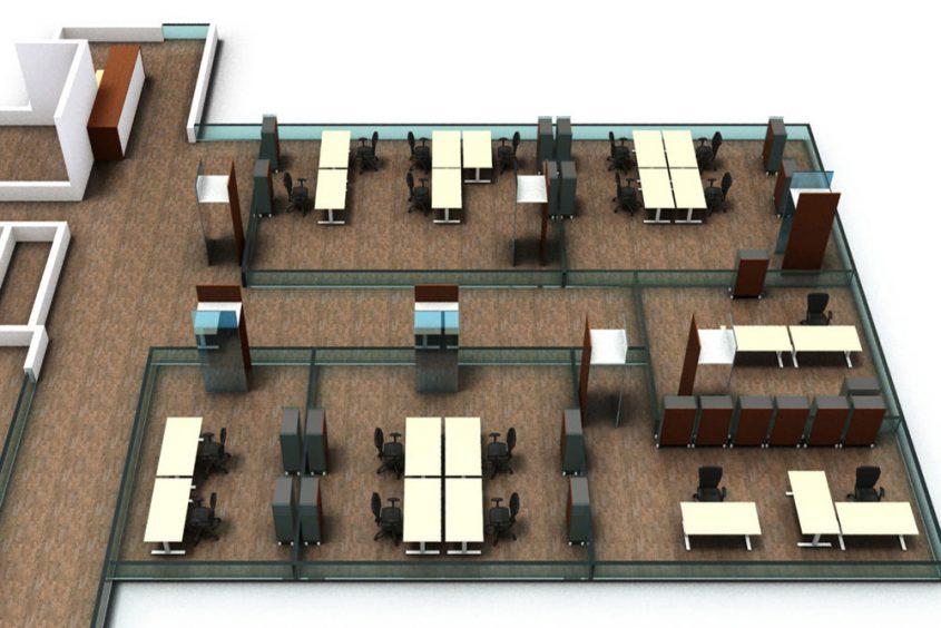 Visualisierung Großraumbüro Arbeitsplatzgestaltung
