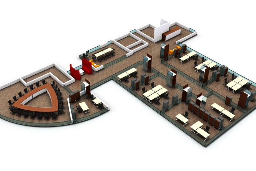Visualisierung einer Bürolandschaft